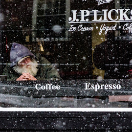 Shelter From The Storm  by Michael Phillips - City,  Street & Park  Street Scenes ( love, urban, nikon_d7000, streets, nikon, people, street photography )
