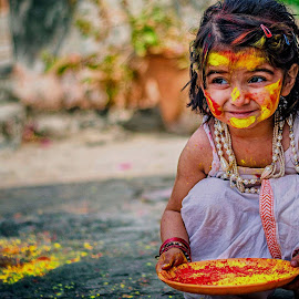 Holi Festival of colors by Arun Sharma - Babies & Children Child Portraits ( colors, daughter, india, festival, cute )