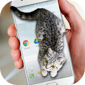 Cat Walks in Phone Cute Joke Icon