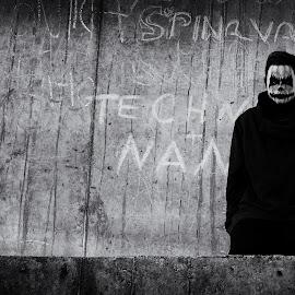 Strret demon by Edita Šidélková - City,  Street & Park  Neighborhoods ( muž, dark, ulice, demon,  )