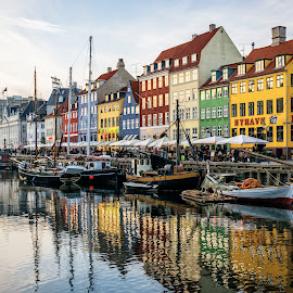 Nyhavn-Copenhagen by Gabriela Ciobanu - City,  Street & Park  Street Scenes ( copenhagen, reflection, tourist, atraction, nyhavn, dmark )