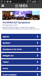 MHRA GCP Event App (Sept 2015) - screenshot