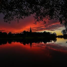 Fading sunset  by Lillian Utstrand Gulliksen - City,  Street & Park  Skylines ( trondelag, solnedgang, sunset, nidarosdomen, trondheim, norway, nidelva )