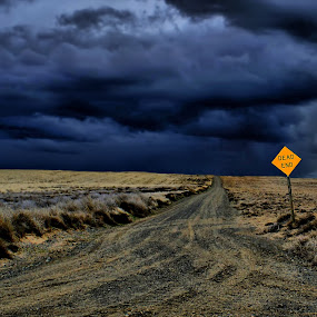 Dead end by Gaylord Mink - Landscapes Prairies, Meadows & Fields ( sign, cloud, road, end, fields,  )