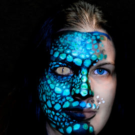 Lady of Reptiles by Lajos E - Digital Art People ( face, lizard, half, paint, face painted, portrait, human, girl, woman, dark, reptile, face painting, animal )