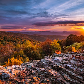 A Morning Gift of Mother Nature by Vladimir Grablev - Landscapes Mountains & Hills ( hills, indian run, skyline, colorful, rock, solitude, travel, landscape, usa, sun, shenandoah, mountains, overlook, area, nature, autumn, serenity, drive, virginia, diagonal, rocks, clouds, wild, park, colors, national, beautiful, scenic, wide, morning, saturated, national park, wilderness, red, diagonals, fall, outdoor, background, trees, lines, appalachian, view, sunrise, early )