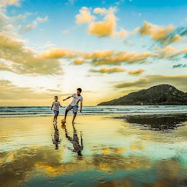 Soccer Boys in Camboriu Beach  by Rqserra Henrique - Sports & Fitness Soccer/Association football ( clouds, brazil, boys, rqserra, beach, evening, soccer,  )