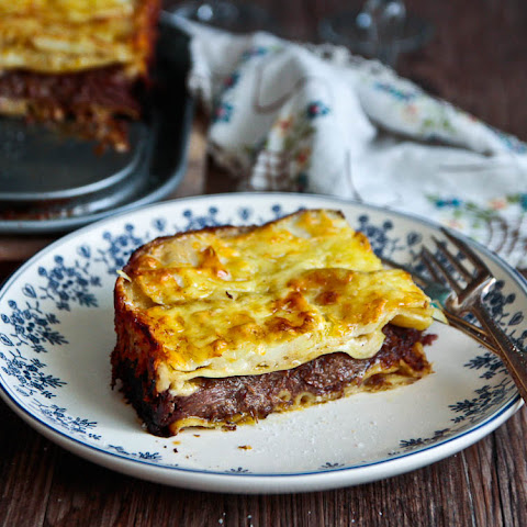 Beef Cheek Lasagna With Scalloped Cheesy Potato Crust!