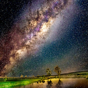 Milky Way Shines Over Lake by Greg Tennant - Landscapes Starscapes ( night photography, grapes, lakes, night, nikon, night sky, night shot, nightscape, milky way,  )