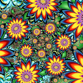 Compounding Flowers by Peggi Wolfe - Illustration Abstract & Patterns ( abstract, bouquet, wolfepaw, gift, unique, bright, illustration, bloom, fun, digital, blossom, print, décor, pattern, color, unusual, fractal, garden, flower )
