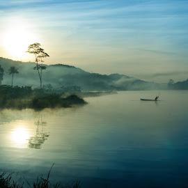 Mystical Misty Lake by Mang Epi - Landscapes Sunsets & Sunrises ( indonesia, lake, sunrise, landscape, misty )