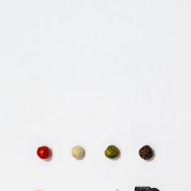 pepper and salt by Exo Kareas - Food & Drink Ingredients ( abstract, green, minimalism, white, pepper, minimal, yellow, ingredients, red, color, food, pink, ingredient, salt )