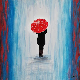 Red Umbrella!I literary paint it with my hand :D by Rahul Gajjar - Painting All Painting