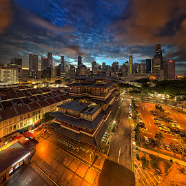 Buddha Tooth Relic Temple by Partha Roy - City,  Street & Park  Skylines ( temple, vertorama, structure, sky, hdr, wide angle, chinatown, buildings, architecture, cityscape, singapore, nightscape )