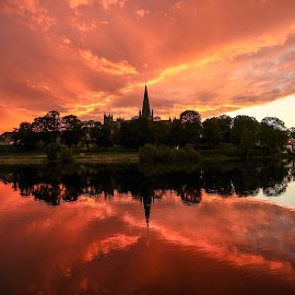 The Cathedral Nidarosdomen by sunset by Lillian Utstrand Gulliksen - City,  Street & Park  Skylines ( nidelven, colors, sunset, nidarosdomen, trondheim, cathedrals, citylights, norway )