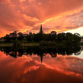 The Cathedral Nidarosdomen by sunset by Lillian Utstrand Gulliksen - City,  Street & Park  Skylines ( nidelven, colors, sunset, nidarosdomen, trondheim, cathedrals, citylights, norway )