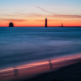 New Grand Haven by Theodore Schlosser - Landscapes Sunsets & Sunrises ( lake michigan, awesome, amazing, pier, michigan, sunset, grand haven, colorful )