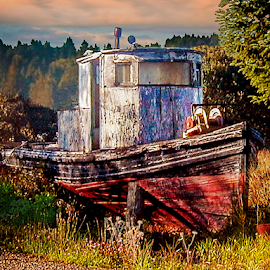 by Joseph Vittek - Transportation Boats ( field, old, wood, trees, ocean, paint, fishing, sunrise )