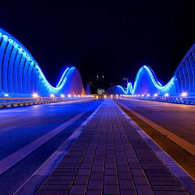 Meydan Bridge by Rafael Uy - Buildings & Architecture Other Exteriors ( cityscapes, dubai, uae, meydan, night, bridge, architecture, nightscapes, lights )