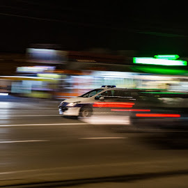 Panning the police car by Ilan Abiri - City,  Street & Park  Night ( abstract, car, panning, night, street photography, nightscape )