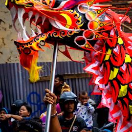 Dragon Leader by OC Andoko - City,  Street & Park  Street Scenes ( chinese dance, dragon dance, street, candid, cap go meh )