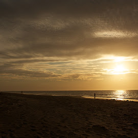 Day's End by Vera Thyssen - Landscapes Sunsets & Sunrises ( peaceful, sunset, fishing, beach, night sky,  )
