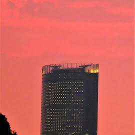 Beatiful view with building and rose sunset sky by Svetlana Saenkova - Buildings & Architecture Office Buildings & Hotels ( pink, sunset sky )