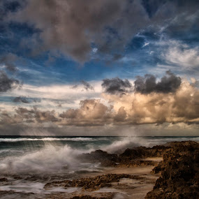 Waves by Cristobal Garciaferro Rubio - Landscapes Cloud Formations ( clouds, shore, sand, sea, sku, rocks )