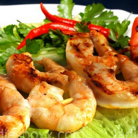 Skewered Shrimp With Chili Sauce