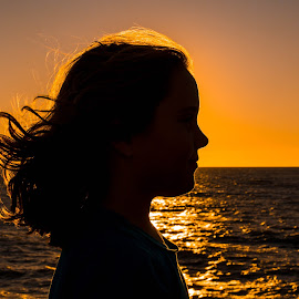 Please Stop Growing Up by Alan Rossnagel - Babies & Children Child Portraits ( child, florida, silhouette, sunset, beach )