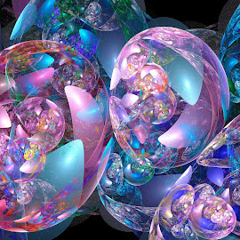 Irisdecent Bubbles by Peggi Wolfe - Illustration Abstract & Patterns ( abstract, wolfepaw, gift, unique, bright, illustration, fun, digital, print, décor, bubble, pattern, iridescent, color, unusual, fractal )