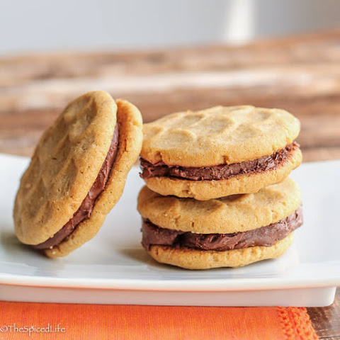 Peanut Butter Sandwich Cookies with Peanut Butter Chocolate Ganache