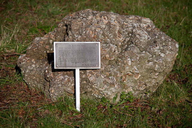 This stone, actually a piece of concrete, lies on the edge of the recreation ground. The plaque reads:- THE ROPLEY RACE STONES Extract from