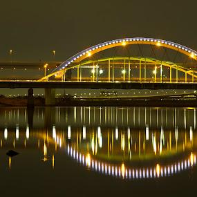 Arakawa Bridge at Night by Ketut Pujantara - Buildings & Architecture Bridges & Suspended Structures ( tokyo arakawa bashi, bridge night relection water )