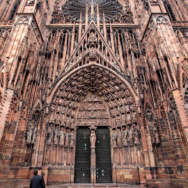 Looking Up by Andreas Huppert - City,  Street & Park  Street Scenes ( gothic, portal, street, cathedral, human in its world, strasbourg )