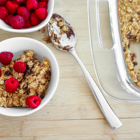Baked Oatmeal with Chocolate Chips + Currants (Gluten Free)