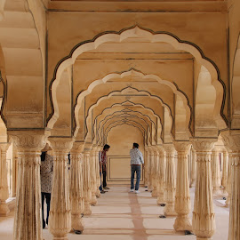A Corridor in a Palace in Amer Fort. by Kumar Gowda - Buildings & Architecture Architectural Detail ( historical monuments )
