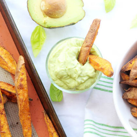 Baked Spicy Sweet Potato Wedges with an Avocado Aioli