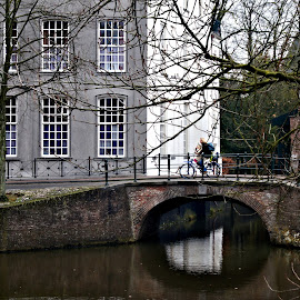 Street scene by Anita Berghoef - City,  Street & Park  Neighborhoods ( amersfoort, street, the netherlands, bridge, street scene, canal, street photo, street photography, city )