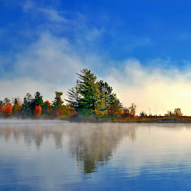 strip of colors by Andrzej Pradzynski - Landscapes Waterscapes ( autumn, foliage, colors, madawaska valley, fall, bark lake, ontario, lake, morning, mist )