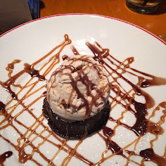 Flourless chocolate cake with ice cream