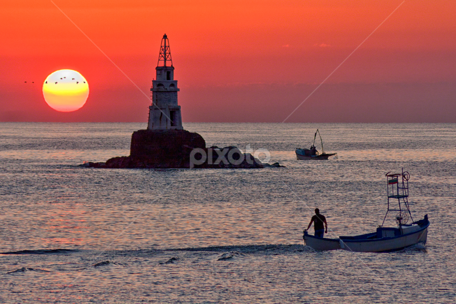 Sunrise at Ahtopol lighthouse by Anton Donev - Landscapes Sunsets & Sunrises ( red sky, hdr, lighthouse, sea, boat, sun, sky, red, ahtopol, horizontal, sunrise, fisherman, landscapes )