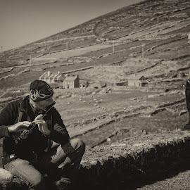 Playing Irish music in the open air  by Gerald Horgan - City,  Street & Park  Street Scenes ( music, countryside, dingle, dingle peninsula, ireland, musician, traditional, irish )