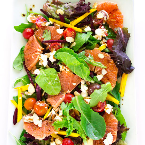 Green Salad with Grapefruit and Red & Golden Beets + Balsamic Dressing