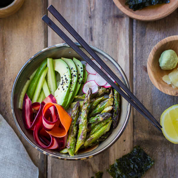 Miso-Roasted Asparagus and Pickled Carrot Sushi Bowls Recipe | Yummly