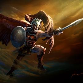 Denario - Denarius [DNR] Mascot/God by Carsen Klock - Illustration Sci Fi & Fantasy ( cryptocurrency, denario, denarius, dnr, bitcoin )
