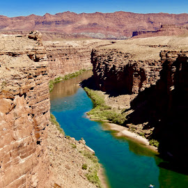 Tranquil Colorado River by Santford Overton - Landscapes Waterscapes ( water, mountains, sky, nature, canyon, waterscapes, landscapes, river )