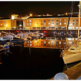 Marina Reflections by Les Reynolds Amanda Whichello - Uncategorized All Uncategorized ( water, buildind, boats, reflections, marina, nightscape,  )