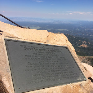 IN RECOGNITION OF THE NOTABLE CAREER OF ZEBULON MONTGOMERY PIKE SOLDIER--EXPLORER THE PEOPLE OF COLORADO HAVE PLACED THIS TABLET ON THE SUMMIT OF THE GREAT MOUNTAIN FIRST SEEN BY PIKE NOVEMBER 15, ...