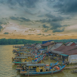Fishing Village by Daniel Kong - Transportation Boats ( village, sunset, boat, fishing boat, river )